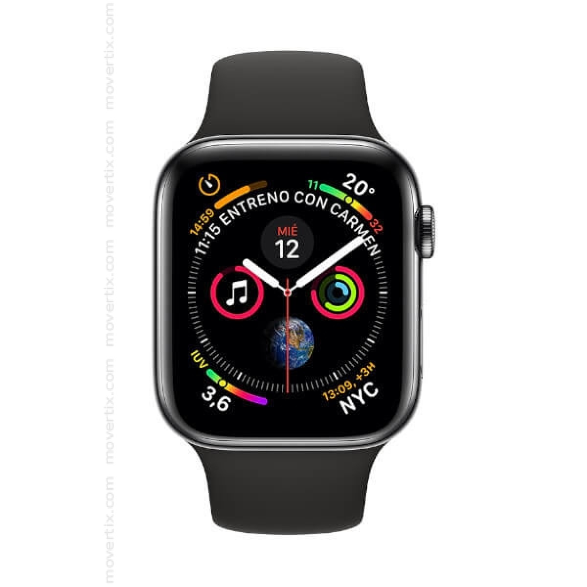Apple watch series 4 gps cellular 44mm space grey with black band mtvu2ty a 0190198912046 for Watches with gps